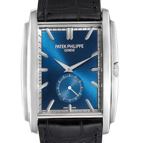 Patek Philippe Gondolo Small Seconds White Gold Blue Dial Mens Watch 5124 PRE-OWNED - Global Timez