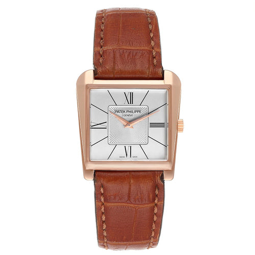 Men's Patek Philippe Gondolo Trapeze Rose Gold Silver Dial Mens Watch 5489 PRE-OWNED