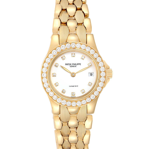 Patek Philippe Neptune Yellow Gold Diamond Ladies Watch 4881 PRE-OWNED - Global Timez