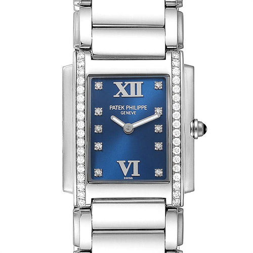 Patek Philippe Twenty-4 Blue Dial Steel Diamond Ladies Watch 4910 PRE-OWNED