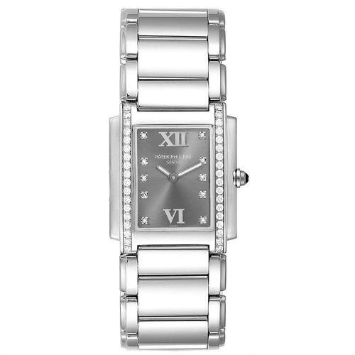 Patek Philippe Twenty-4 Grey Diamond Dial Steel Ladies Watch 4910 PRE-OWNED - Global Timez