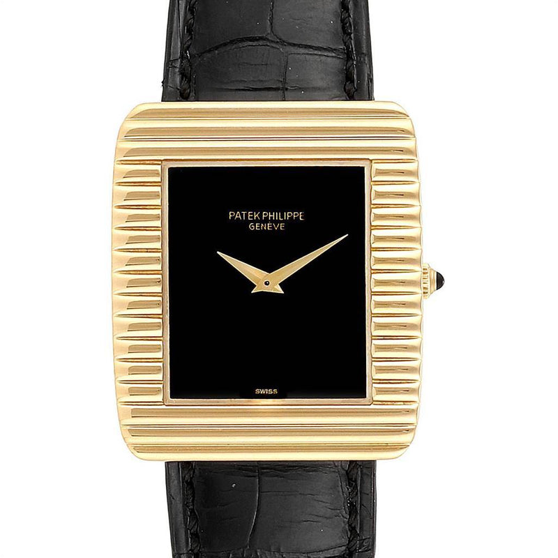 Patek Philippe Yellow Gold Black Dial Vintage Mens Watch 3633 PRE-OWNED