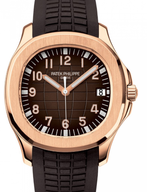 Men's Patek Philippe Aquanaut Brown Dial Rose Gold Bezel Brown Rubber Bracelet 40 mm 5167R-001 - BRAND NEW - Global Timez