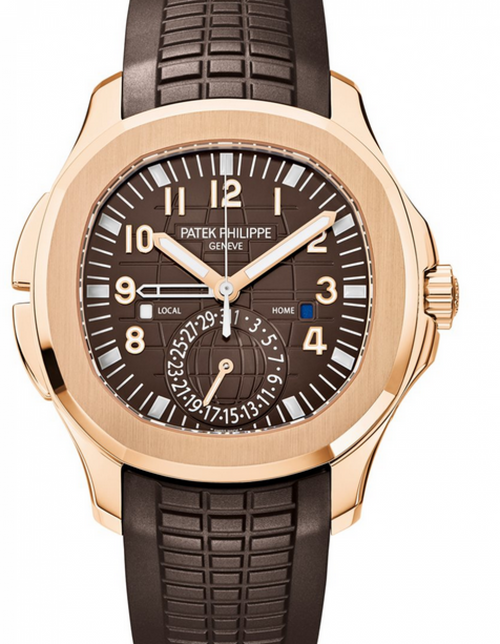 Men's Patek Philippe Aquanaut Brown Embossed Arabic Dial Rose Gold Bezel Brown Composite Strap 40.8mm 5164R-001 - BRAND NEW - Global Timez
