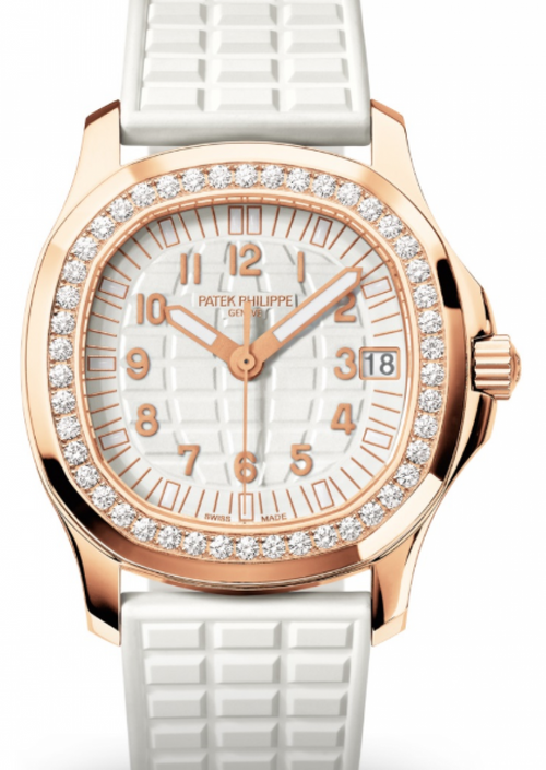 Patek Philippe Aquanaut Ladies Embossed White Arabic Diamond Bezel Rose Gold Composite 35.6mm 5068R-010 - BRAND NEW - Global Timez