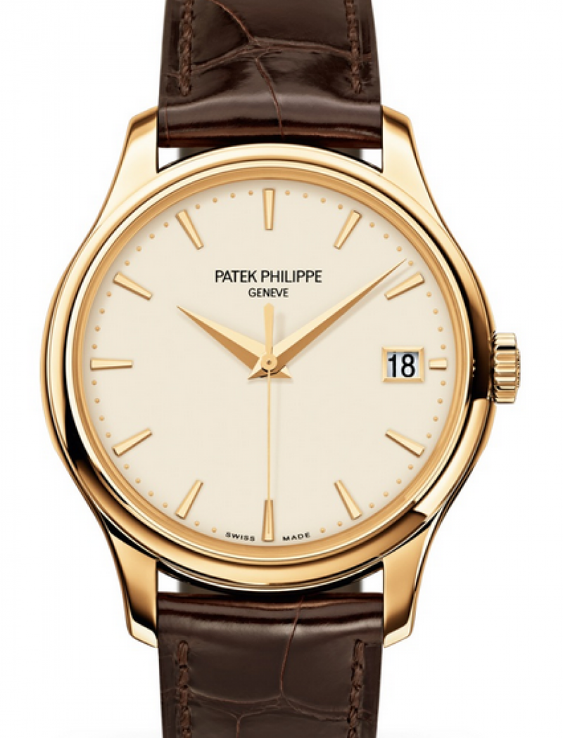 Men's Patek Philippe Calatrava Ivory Index Dial Yellow Gold Bezel Brown Leather Strap 39mm 5227J-001 - BRAND NEW