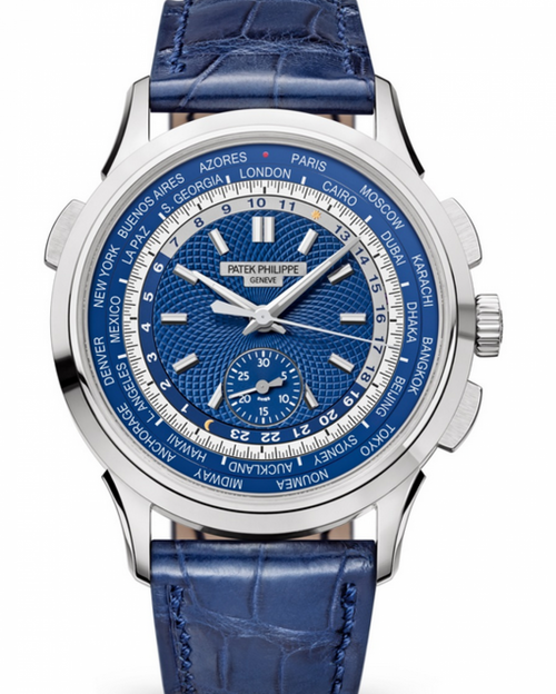 Men's Patek Philippe Complications Blue Opaline Guilloched Index White Gold Leather 39.5mm 5930G-001 - BRAND NEW - Global Timez