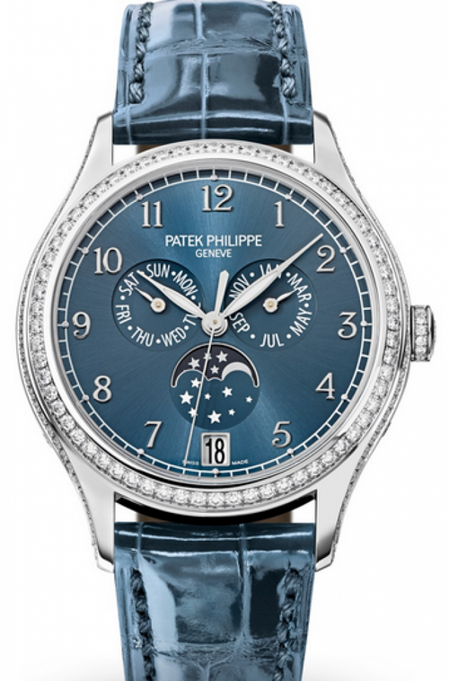 Patek Philippe Complications Ladies Annual Calendar Moon Phase Blue Arabic Dial Diamond Bezel White Gold Leather 38mm 4947G-001 - BRAND NEW - Global Timez