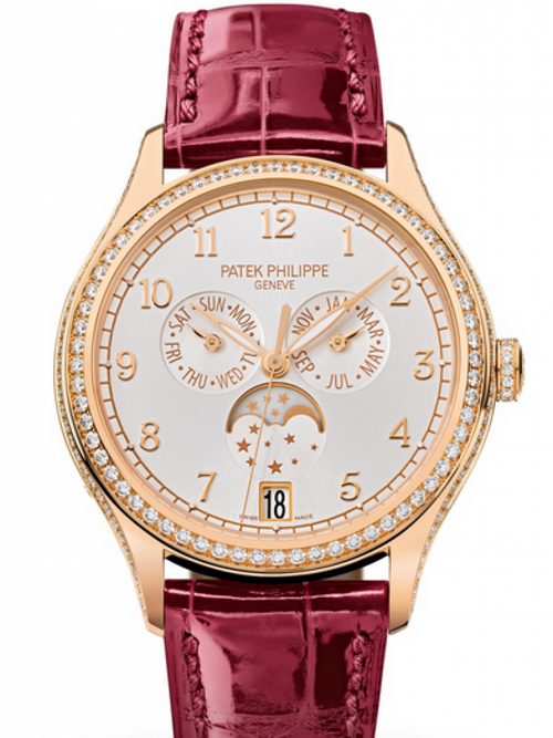 Patek Philippe Complications Ladies Annual Calendar Moon Phase Silver Arabic Dial Diamond Bezel Rose Gold Leather 38mm 4947R-001 BRAND NEW - Global Timez