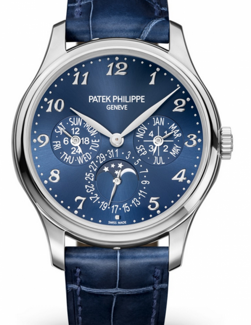 Men's Patek Philippe Grand Complications Royal Blue Sunburst Arabic Dial White Gold Bezel Blue Leather Strap 39mm 5327G-001 - BRAND NEW - Global Timez