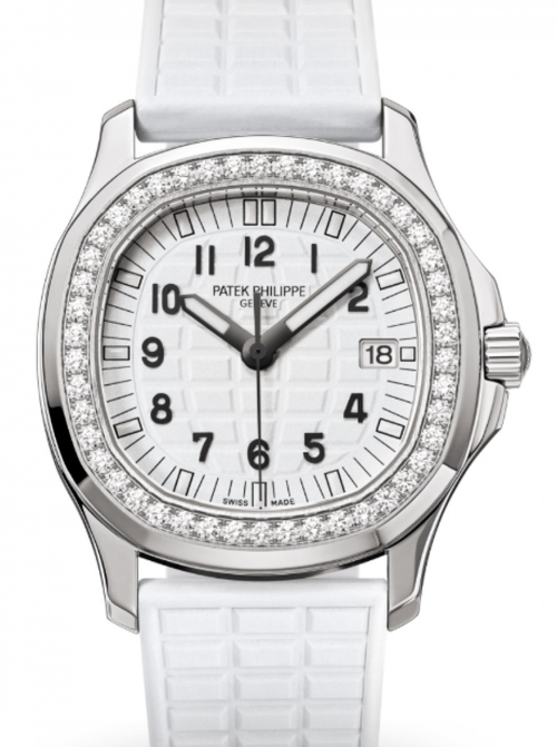 Patek Philippe Ladies Aquanaut White Embossed Arabic Diamond Bezel Stainless Steel Composite 35.6mm 5067A-024 - BRAND NEW - Global Timez
