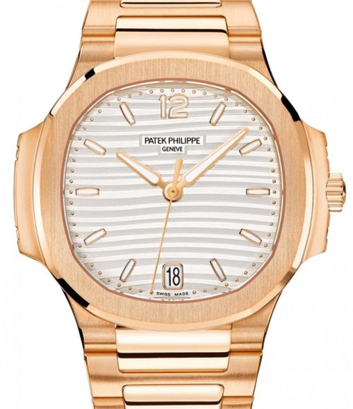 Patek Philippe Nautilus Men's Silver Opaline Index Rose Gold 35.2mm 7118/1R-001 - BRAND NEW - Global Timez