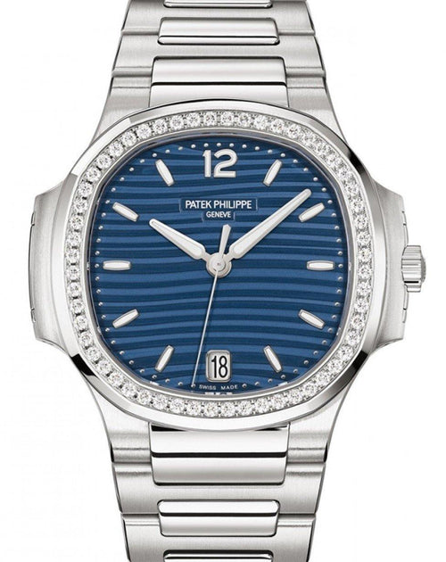 Patek Philippe Nautilus Men's Blue Opaline Index Diamond Bezel Stainless Steel 35.2mm 7118/1200A-001- BRAND NEW - Global Timez