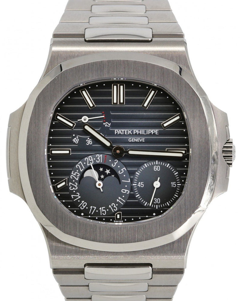 Men's Patek Philippe Nautilus Moon Phase Blue Index Dial Stainless Steel Bezel & Bracelet 40mm 5712/1A-001 BRAND NEW