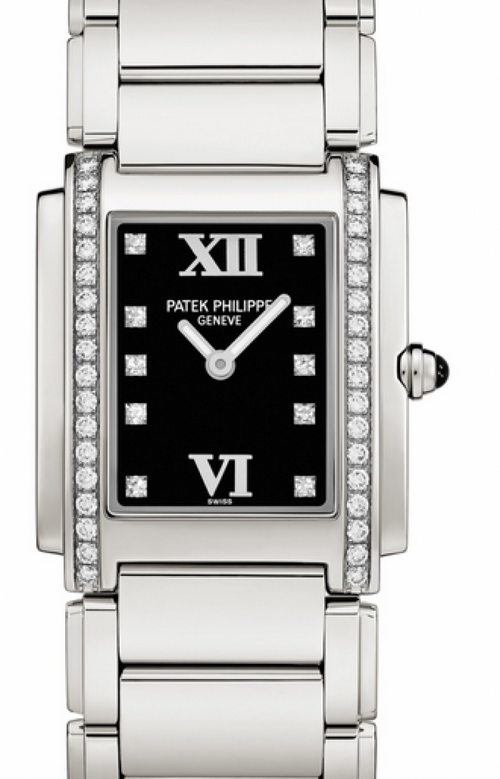Patek Philippe Twenty~4 Ladies Black Roman Diamond Set Dial Stainless Steel Quartz 25 x 30mm 4910/10A-001 - BRAND NEW - Global Timez