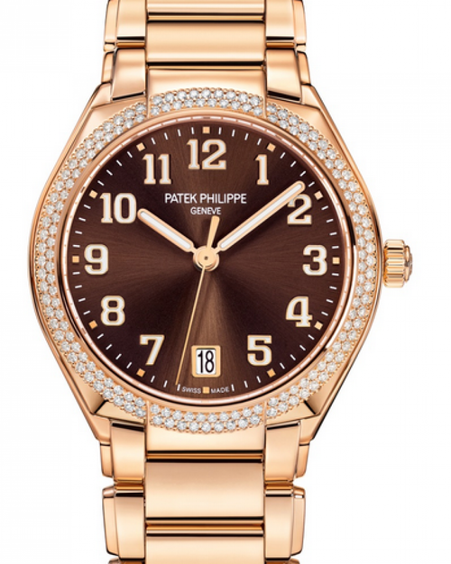 Patek Philippe Twenty~4 Ladies Brown Sunburst Arabic Dial Diamond Bezel Rose Gold Bracelet 36mm 7300/1200R-001 - BRAND NEW - Global Timez
