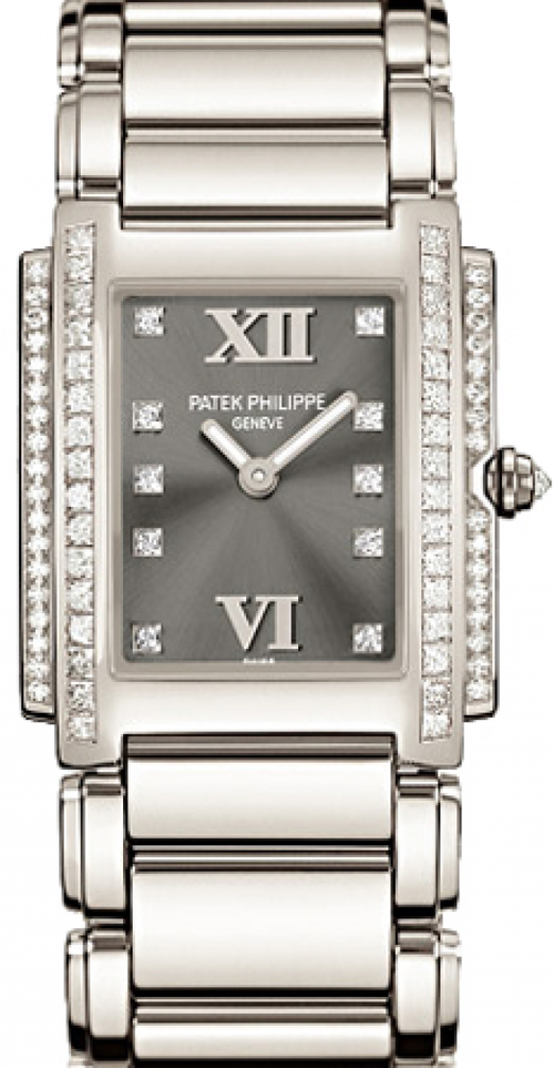 Patek Philippe Twenty~4 Ladies Grey Roman Diamond Set Dial White Gold Automatic 25 x 30mm 4910/20G-010 - BRAND NEW - Global Timez
