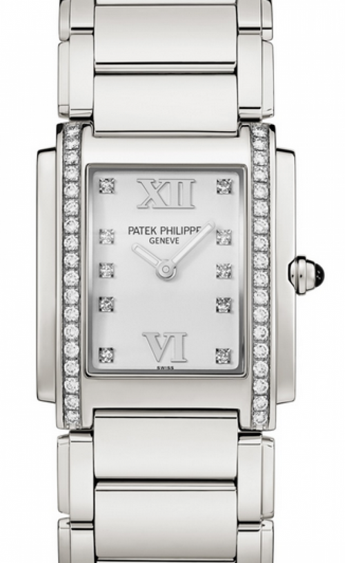Patek Philippe Twenty~4 Ladies White Roman Diamond Set Stainless Steel Quartz 4910/10A-011 - BRAND NEW - Global Timez