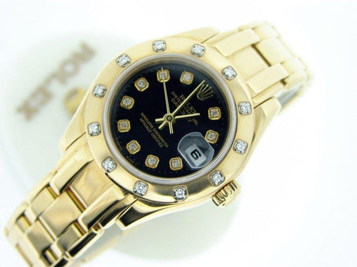 Ladies Rolex 18K Yellow Gold Datejust Pearlmaster Black Diamond 80318 PRE-OWNED - Global Timez