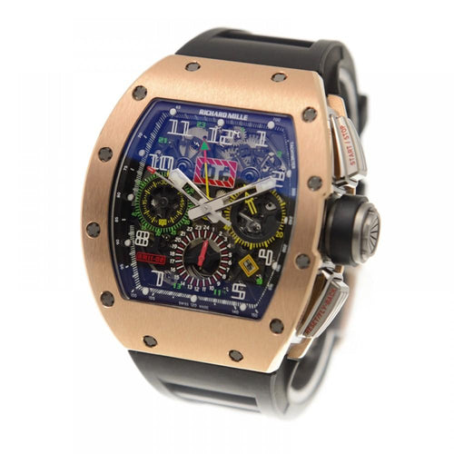 Men's Richard Mille Felipe Massa RM11-02 Rose Gold Black Rubber Arabic Automatic BRAND NEW