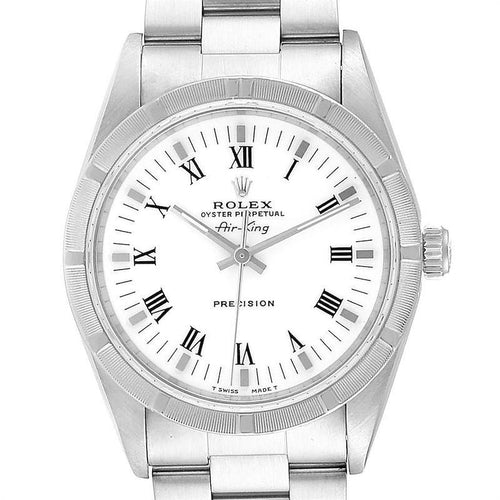Rolex Air King 34mm White Dial Steel Men's Watch 14010 Box PRE-OWNED - Global Timez