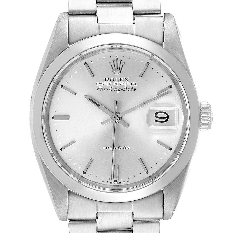 Rolex Air King Date Vintage Stainless Steel Silver Dial Men's Watch 5700 PRE-OWNED