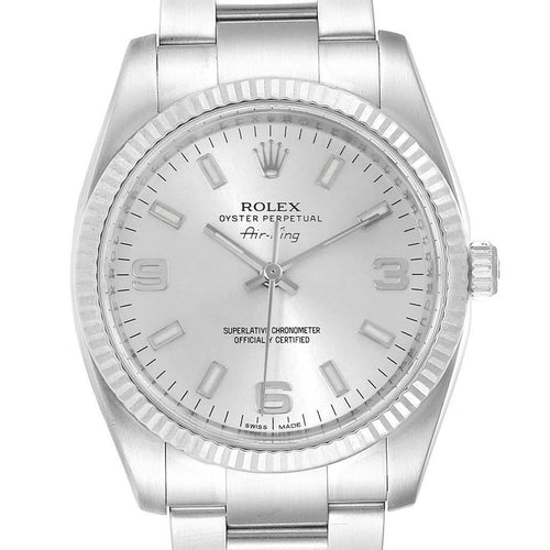 Rolex Air King Steel White Gold Fluted Bezel Men's Watch 114234 PRE-OWNED - Global Timez