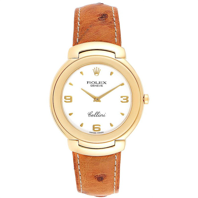 Rolex Cellini 18k Yellow Gold White Dial Brown Strap Men's Watch 6623 PRE-OWNED