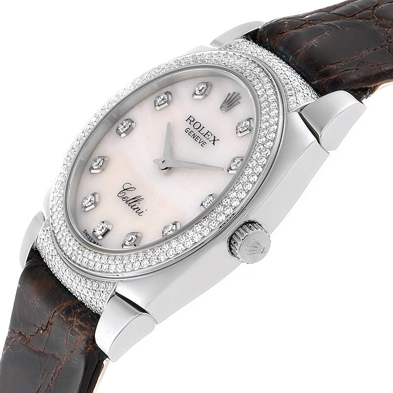 Rolex Cellini Cestello 18K White Gold MOP Diamond Ladies Watch 6321 PRE-OWNED