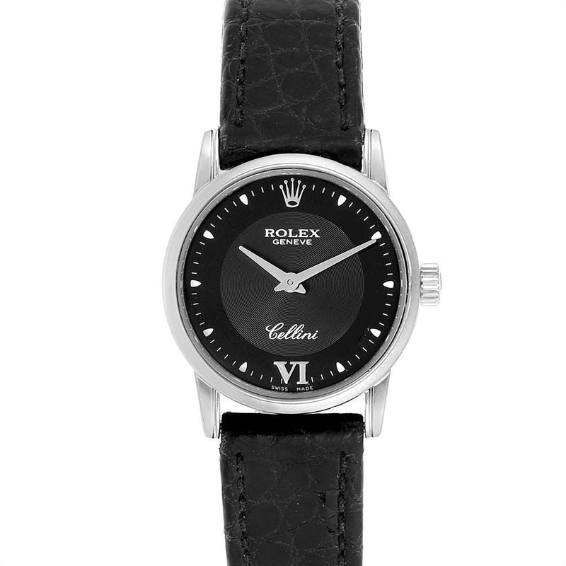 Rolex Cellini Classic 18k White Gold Black Dial Ladies Watch 6111 PRE-OWNED