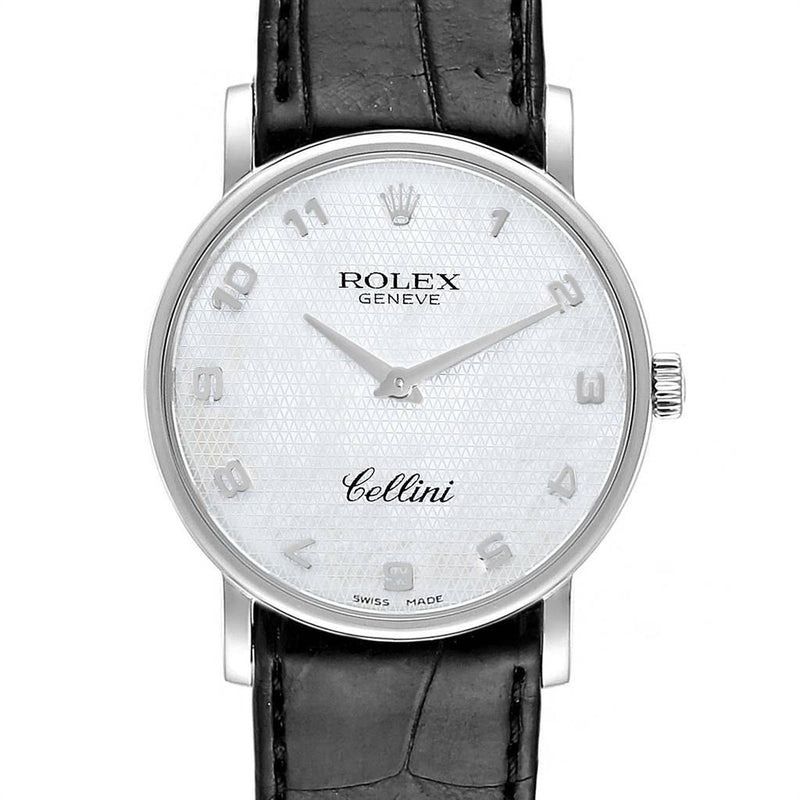 Rolex Cellini Classic White Gold MOP Dial Black Strap Men's Watch 5115 PRE-OWNED
