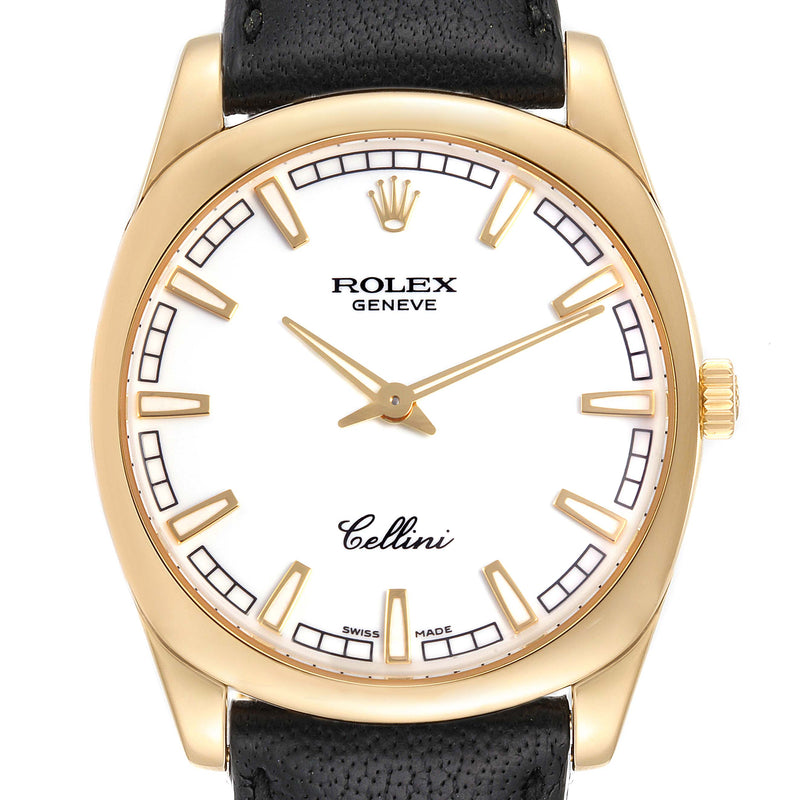 Men's Rolex Cellini Danaos 18k Yellow Gold White Dial Men's Watch 4243 Box Papers PRE-OWNED