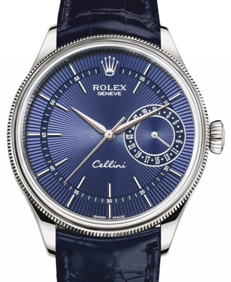 Men's Rolex Cellini Date White Gold Blue Guilloche Index Dial Domed & Fluted Double Bezel Blue Leather Bracelet 50519 - BRAND NEW