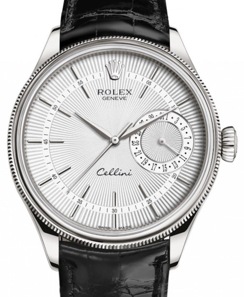Men's Rolex Cellini Date White Gold Silver Guilloche Index Dial Domed & Fluted Double Bezel Black Leather Bracelet 50519 - BRAND NEW