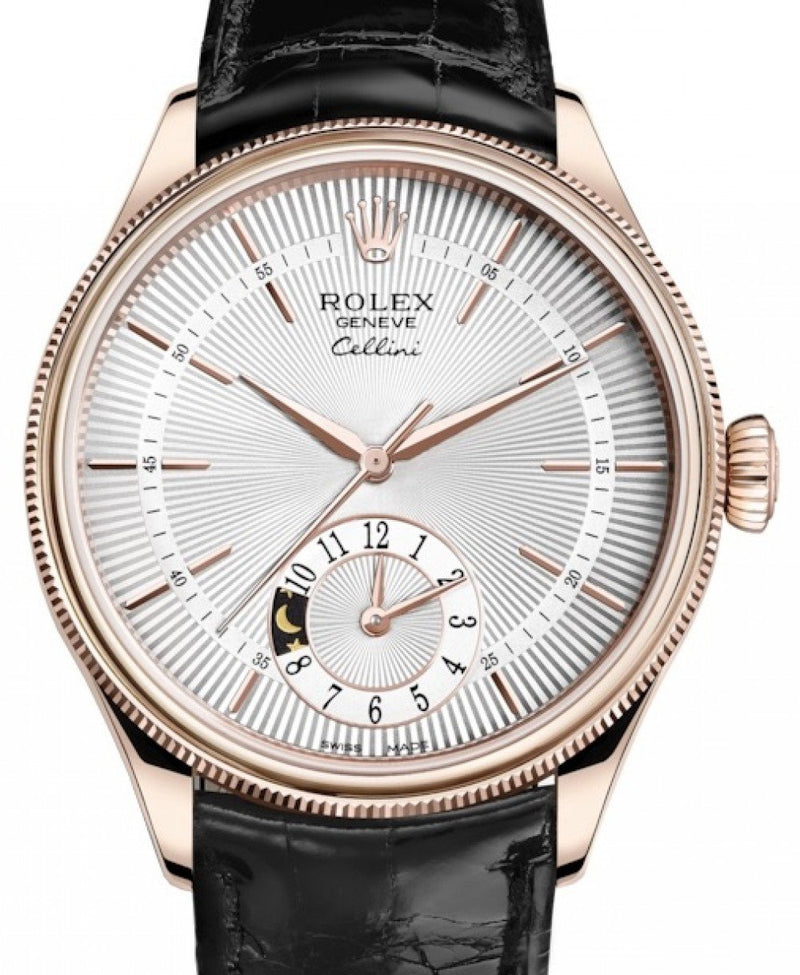 Men's Rolex Cellini Dual Time Rose Gold Silver Guilloche Index Dial Domed & Fluted Double Bezel Black Leather Bracelet 50525 - BRAND NEW