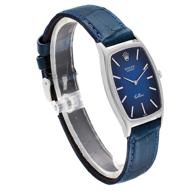 Rolex Cellini White Gold Blue Vignette Dial Vintage Ladies Watch 3807 PRE-OWNED