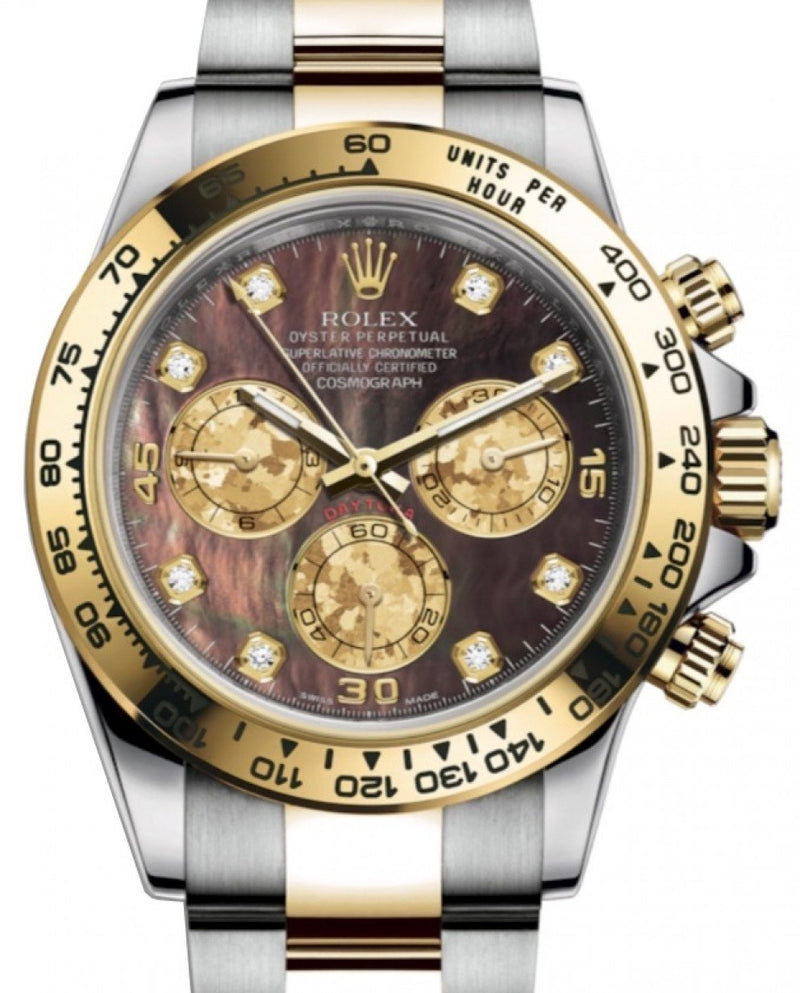 Men's Rolex Daytona Yellow Gold/Steel Black Mother of Pearl Diamond Dial Yellow Gold Bezel Oyster Bracelet 116503 - BRAND NEW