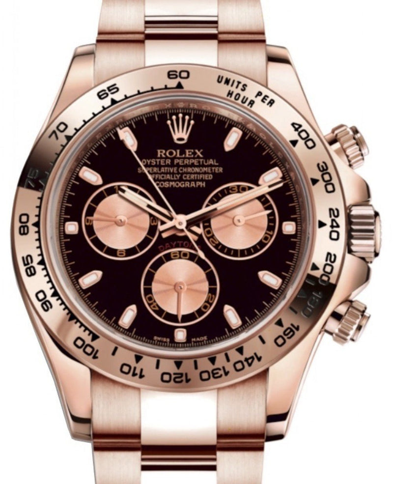 Men's Rolex Daytona 116505 Black Index Pink Subdials Rose Gold Oyster Chronograph BRAND NEW