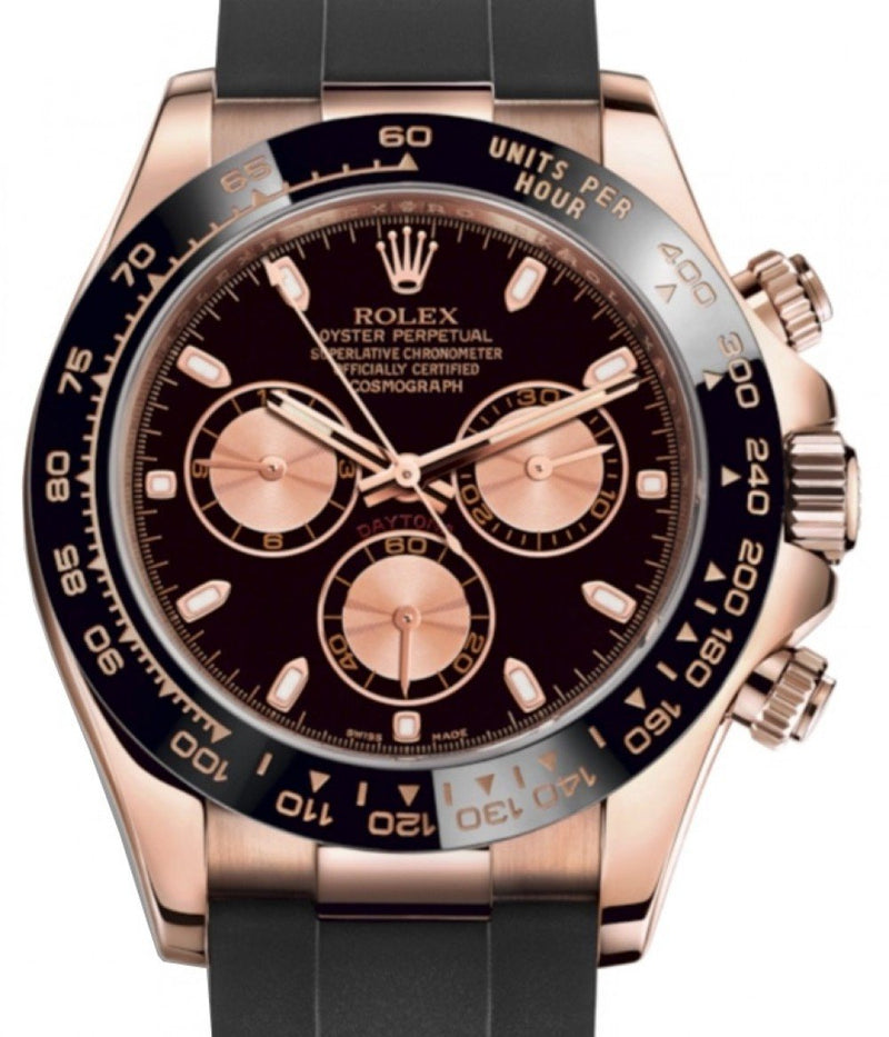 Men's Rolex Daytona Rose Gold Black/Pink Index Dial Ceramic Bezel Oysterflex Rubber Bracelet 116515LN - BRAND NEW