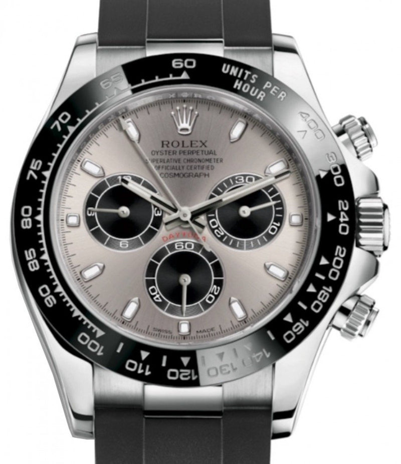 Men's Rolex Daytona White Gold Steel/Black Index Dial Ceramic Bezel Oysterflex Rubber Bracelet 116519LN - BRAND NEW