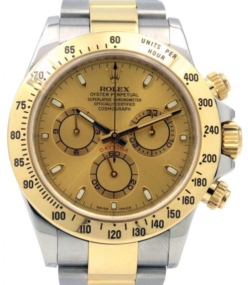 Men's Rolex Daytona 116523 Champagne Index Yellow Gold Stainless Steel PRE-OWNED - Global Timez