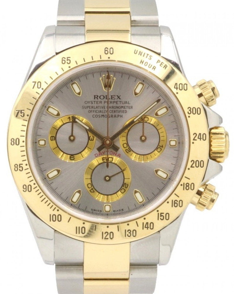Men's Rolex Daytona 116523 Silver Index 18k Yellow Gold Stainless Steel 40mm - PRE-OWNED