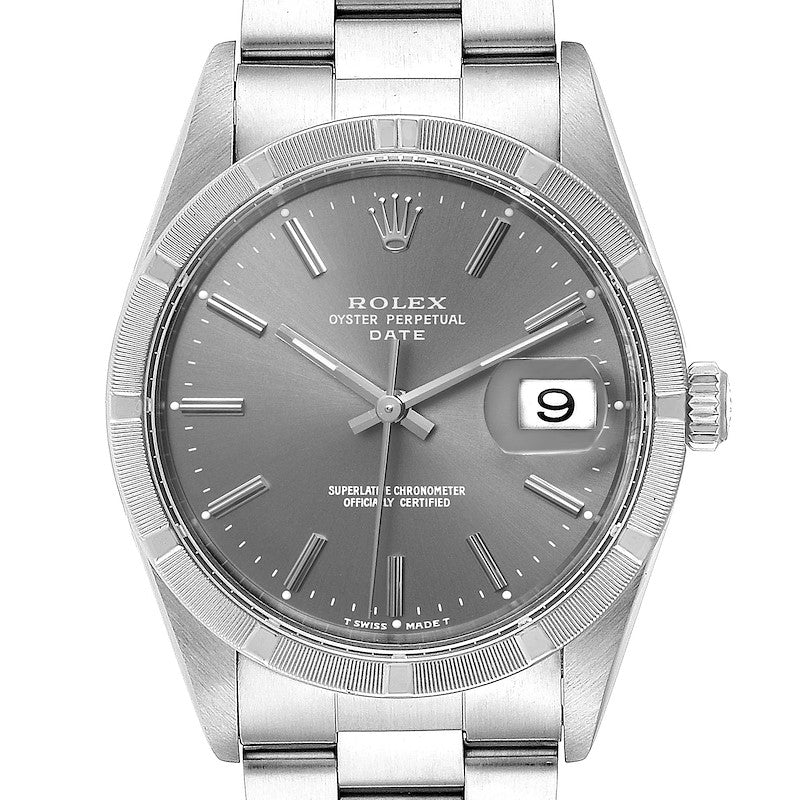Men's Rolex Date Grey Dial Oyster Bracelet Steel Men's Watch 15210 PRE-OWNED