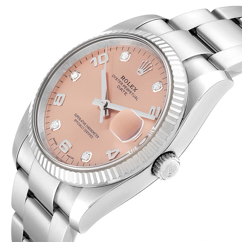Men's Rolex Date Salmon Diamond Dial Steel White Gold Men's Watch 115234 Box Card PRE-OWNED