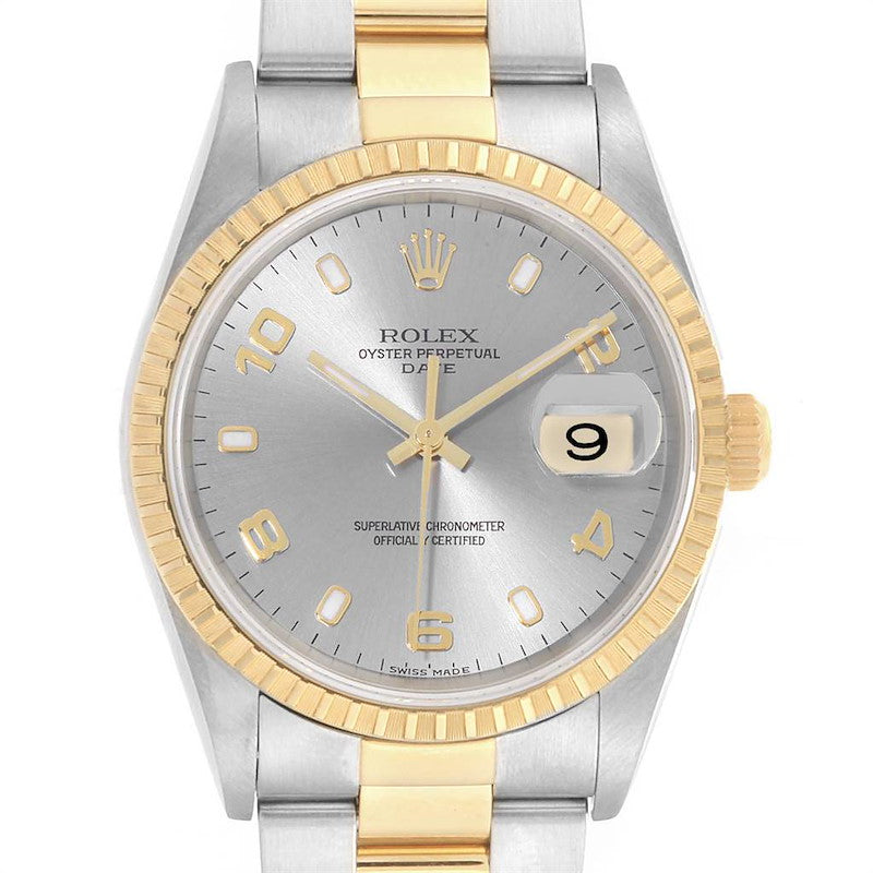Rolex Date Steel Yellow Gold Slate Dial Men's Watch 15223 PRE-OWNED