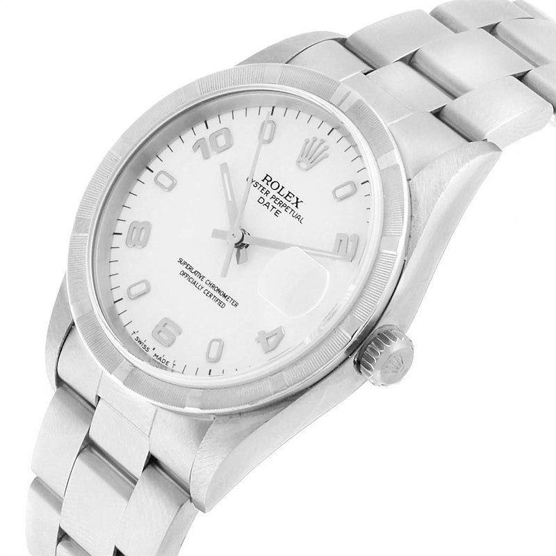 Rolex Date White Dial Engine Turned Bezel Steel Men's Watch 15210 PRE-OWNED