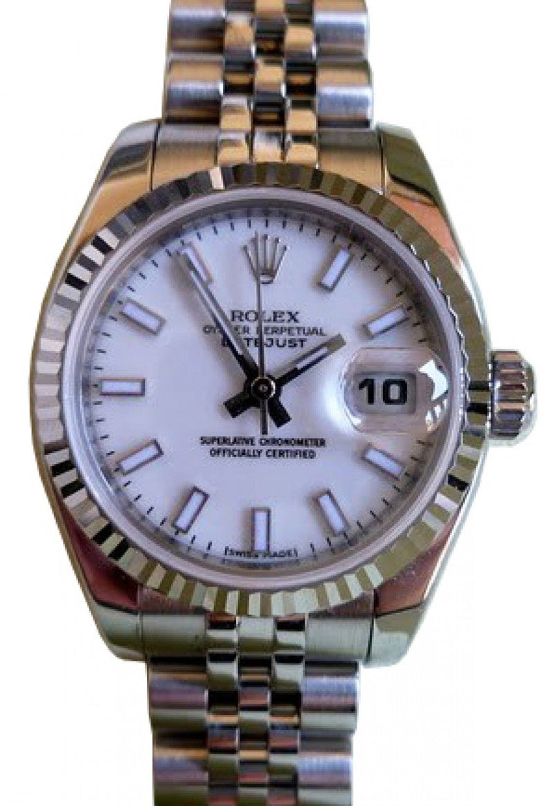 Rolex Datejust 179174 26mm Ladies Small White Index Oyster Stainless Steel 18k White Gold Fluted PRE-OWNED