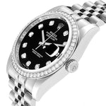 Men's Rolex Datejust 36 Black Diamond Dial Bezel Watch 116244 Box Card PRE-OWNED