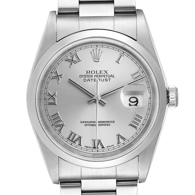 Men's Rolex Datejust 36 Rhodium Roman Dial Steel Men's Watch 16200 Box Papers PRE-OWNED