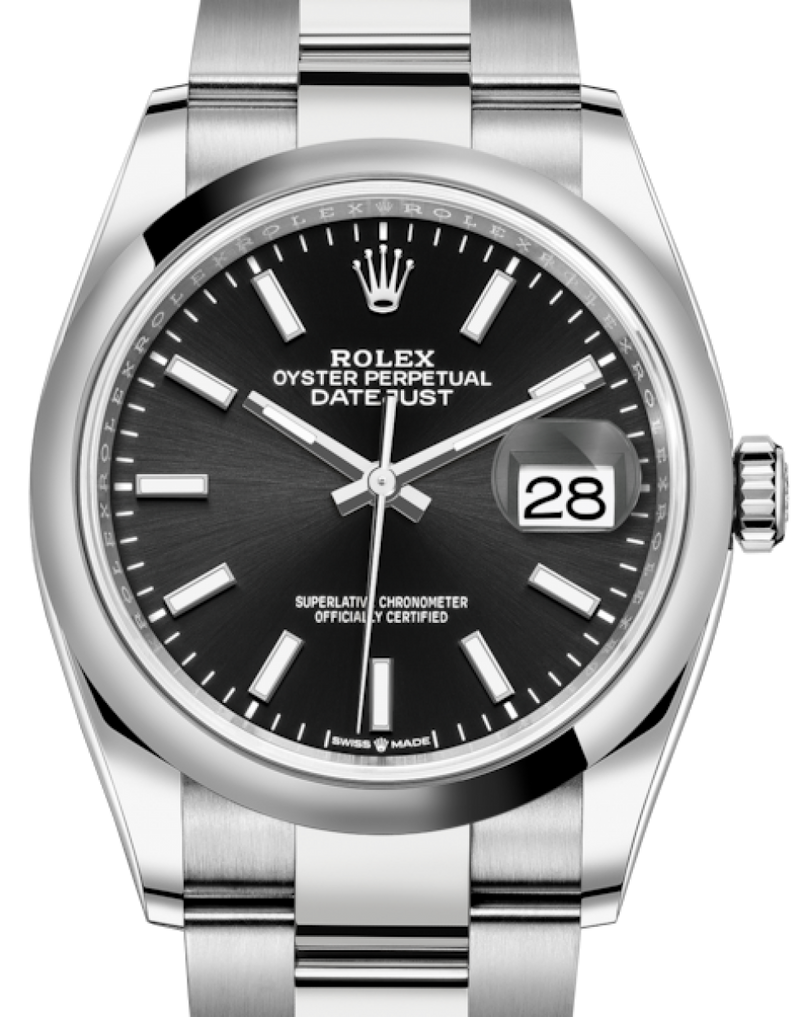 Men's Rolex Datejust 36 Stainless Steel Black Index Dial & Smooth Domed Bezel Oyster Bracelet 126200 - BRAND NEW